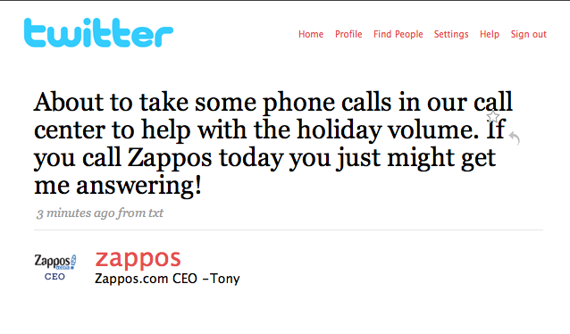 Tweet from Zapposs CEO (Courtesy of Tame The Web)