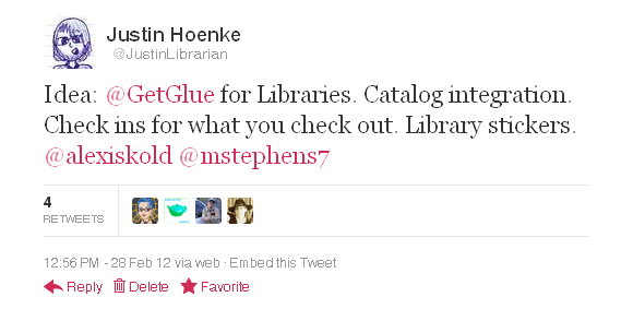 Twitter   @JustinLibrarian  Idea  @GetGlue for Librari ...-105153