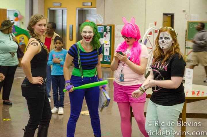 Megan Emery as the Joker. A pretty typical library day.