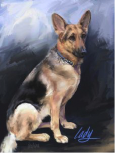 Drawing of a dog by Joseph Lema, Jr